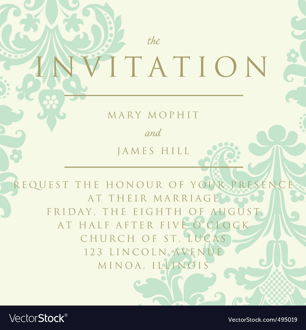 Damask invitation card vector | Price: 1 Credit (USD $1)