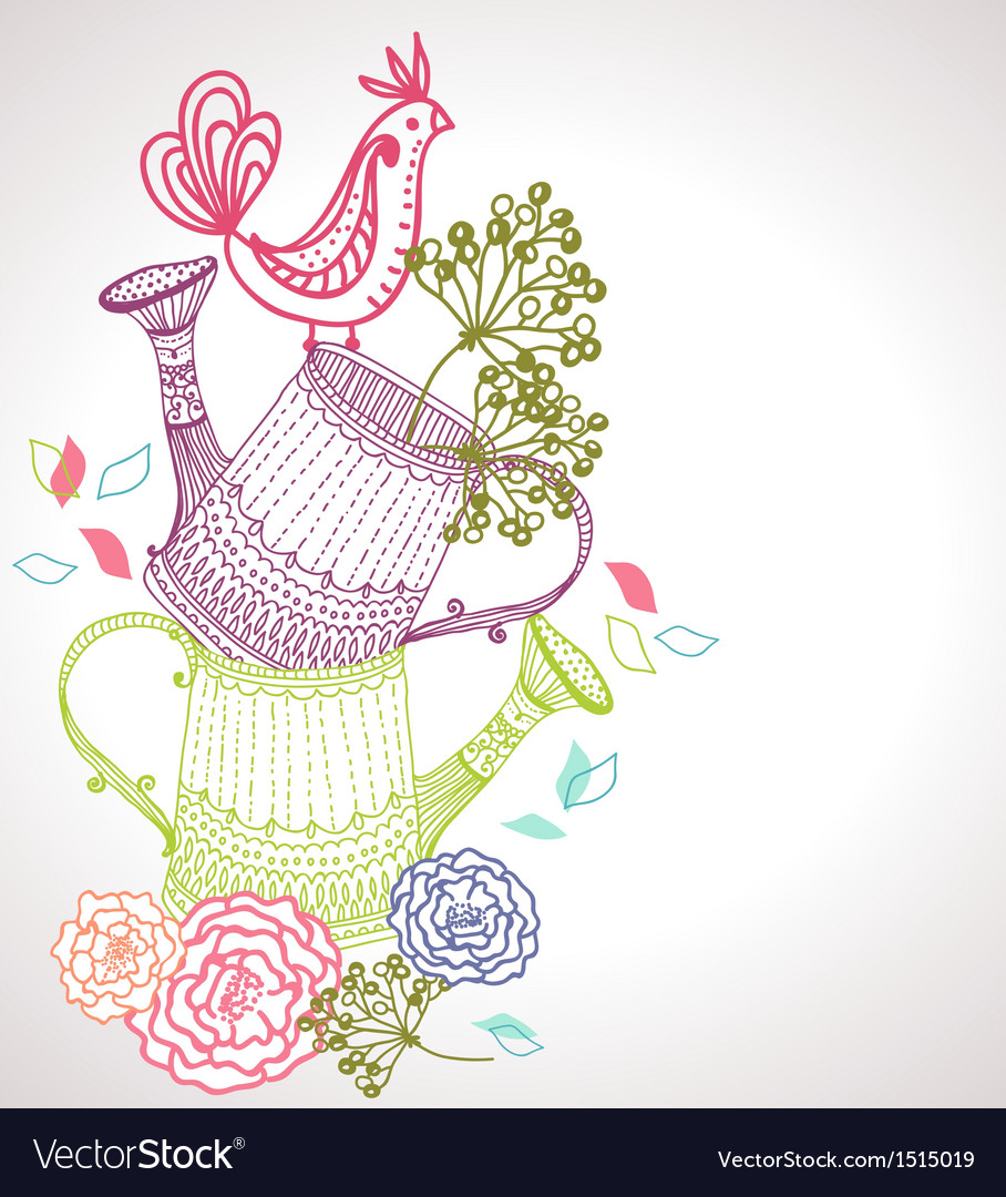 Floral background with watering can and bird vector | Price: 1 Credit (USD $1)
