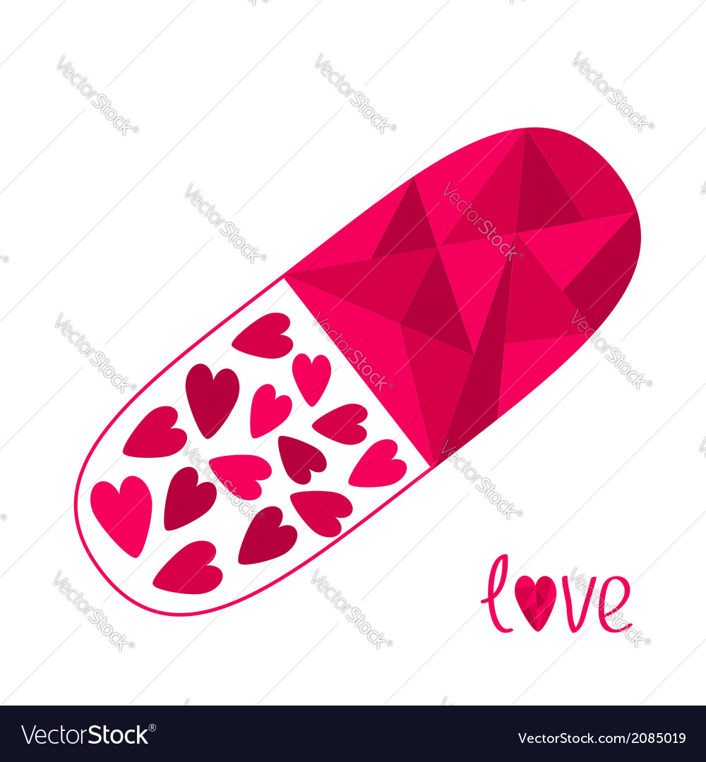 Polygonal medical pill with hearts inside love car vector | Price: 1 Credit (USD $1)