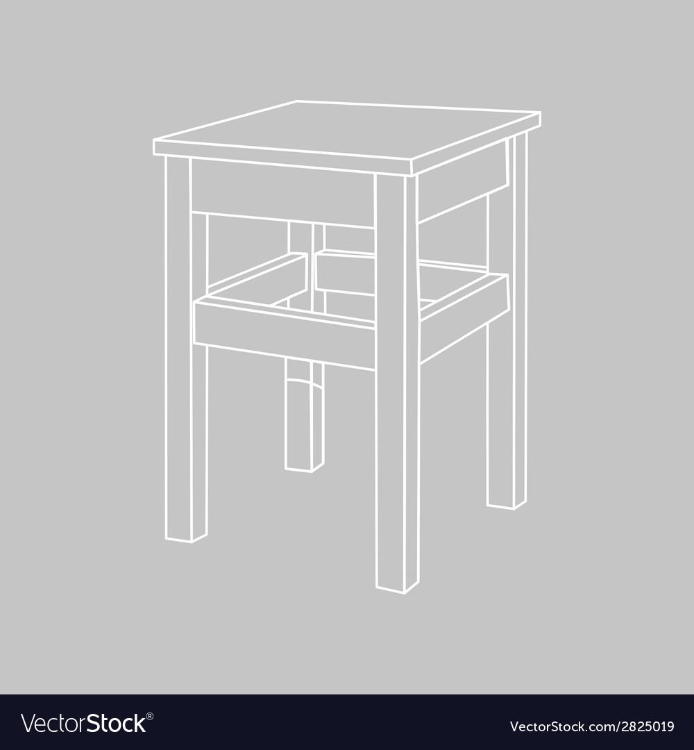 Retro wooden stool vector   Price: 1 Credit (USD $1)