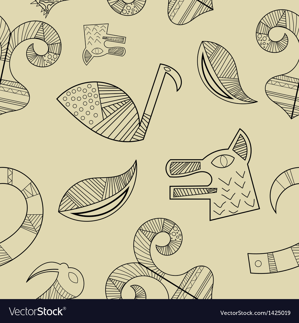 Seamless texture with elements of the animal style vector | Price: 1 Credit (USD $1)