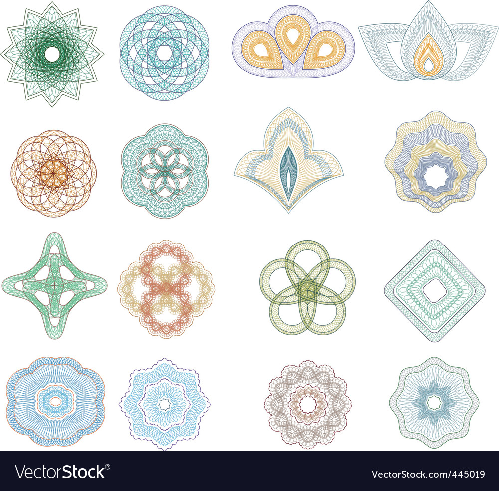 Set of guilloche rosette vector