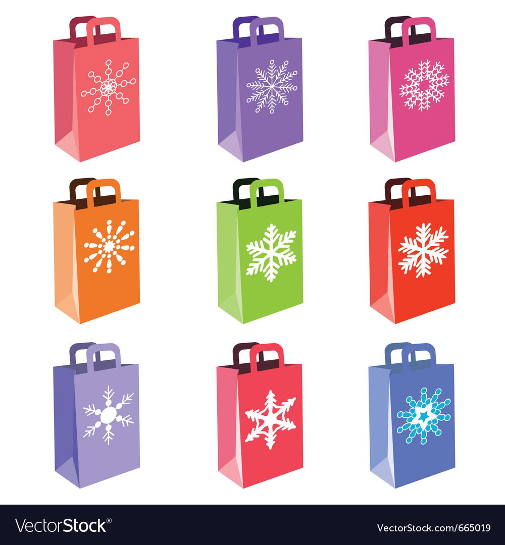 Shopping bags with snowflake symbols vector | Price: 1 Credit (USD $1)