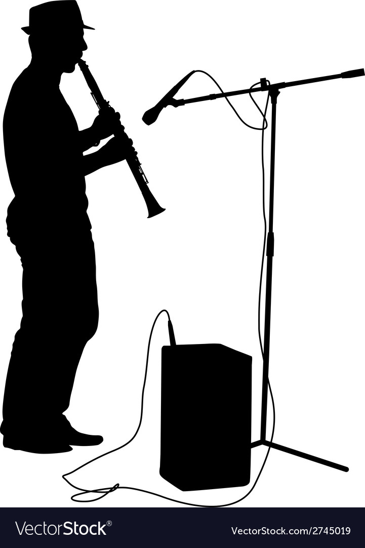 Silhouette musician plays the clarinet vector | Price: 1 Credit (USD $1)