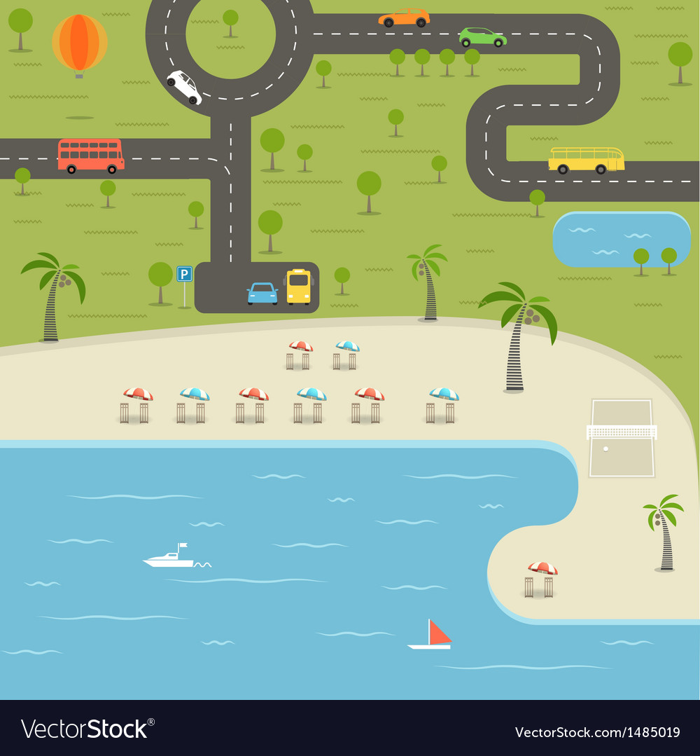 Summer season beach vacation vector | Price: 1 Credit (USD $1)