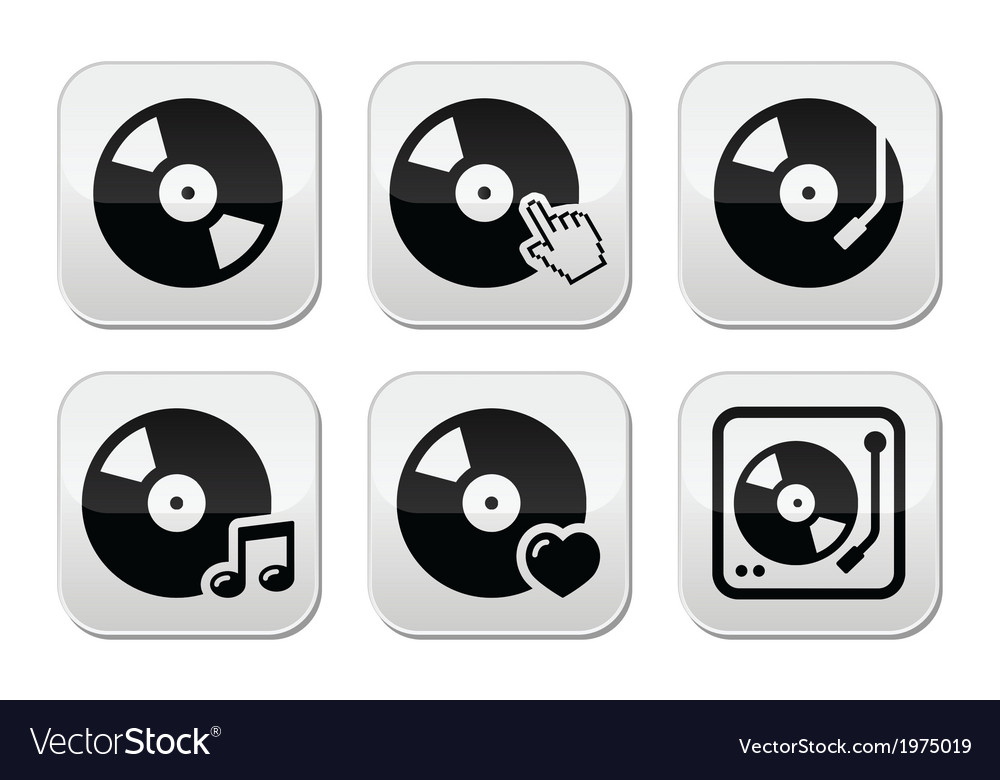 Vinyl record dj buttons set vector | Price: 1 Credit (USD $1)
