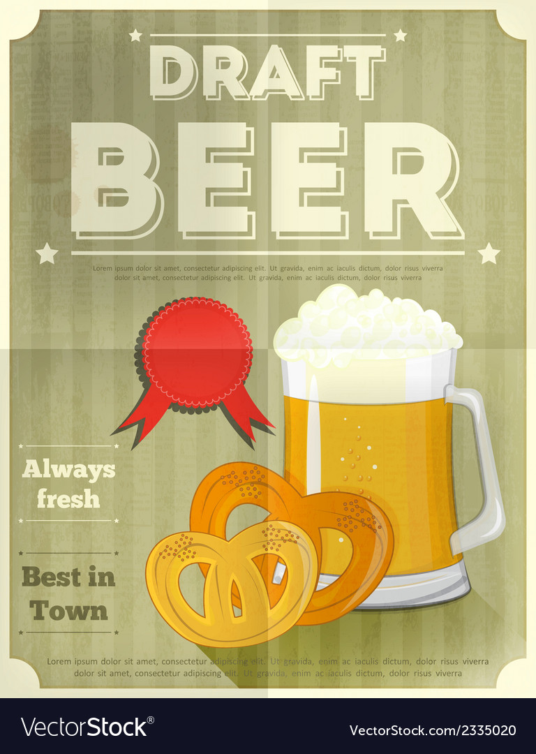 Beer draft poster vector | Price: 1 Credit (USD $1)