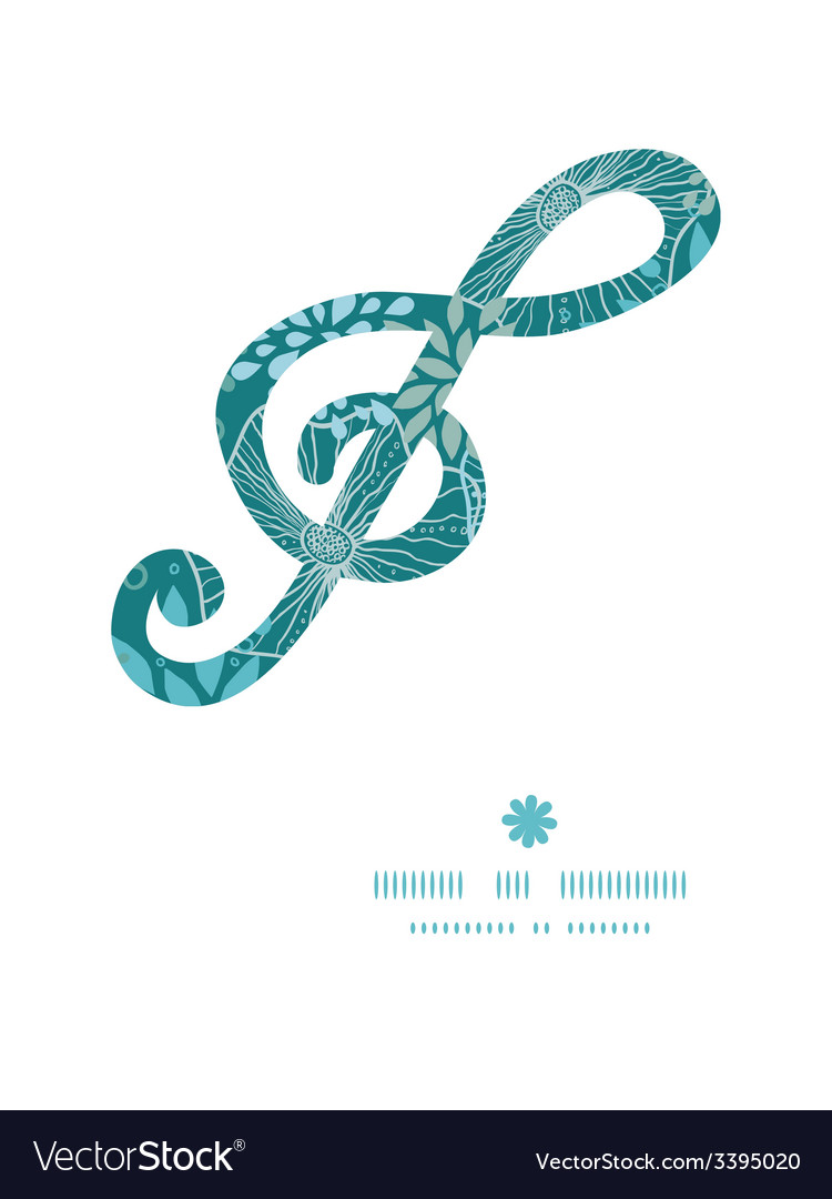 Blue and gray plants g clef musical silhouette vector | Price: 1 Credit (USD $1)