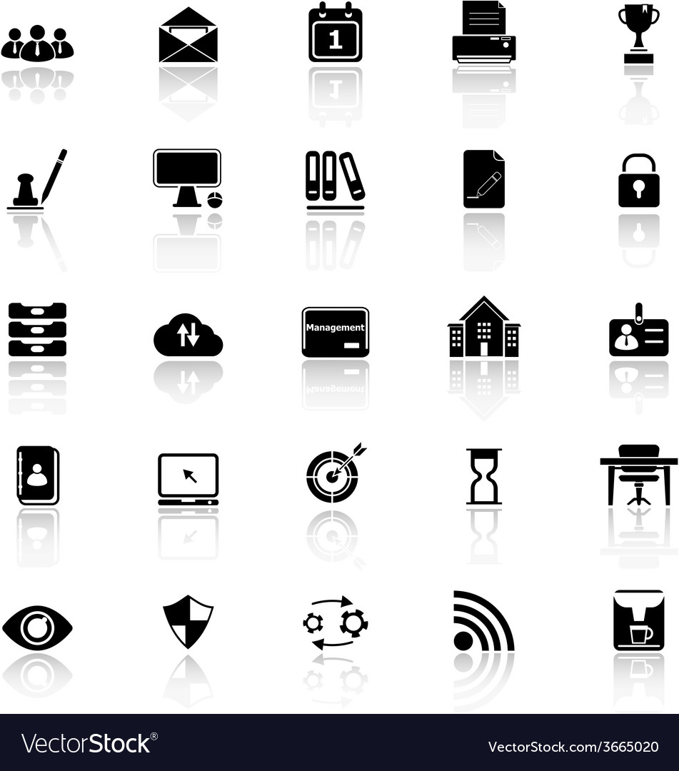 Business management icons with reflect on white vector   Price: 1 Credit (USD $1)
