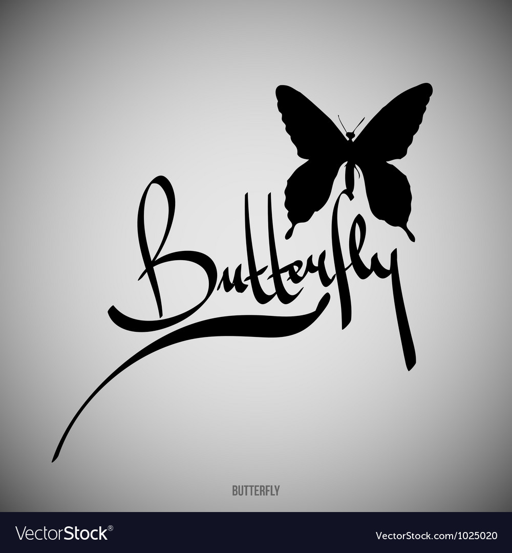 Butterfly calligraphic elements vector | Price: 1 Credit (USD $1)