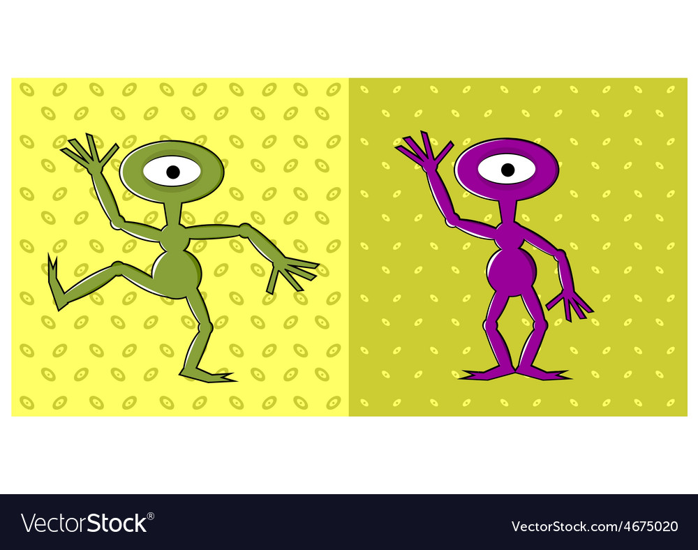 Cartoon funny one eyed alien dancing vector | Price: 1 Credit (USD $1)