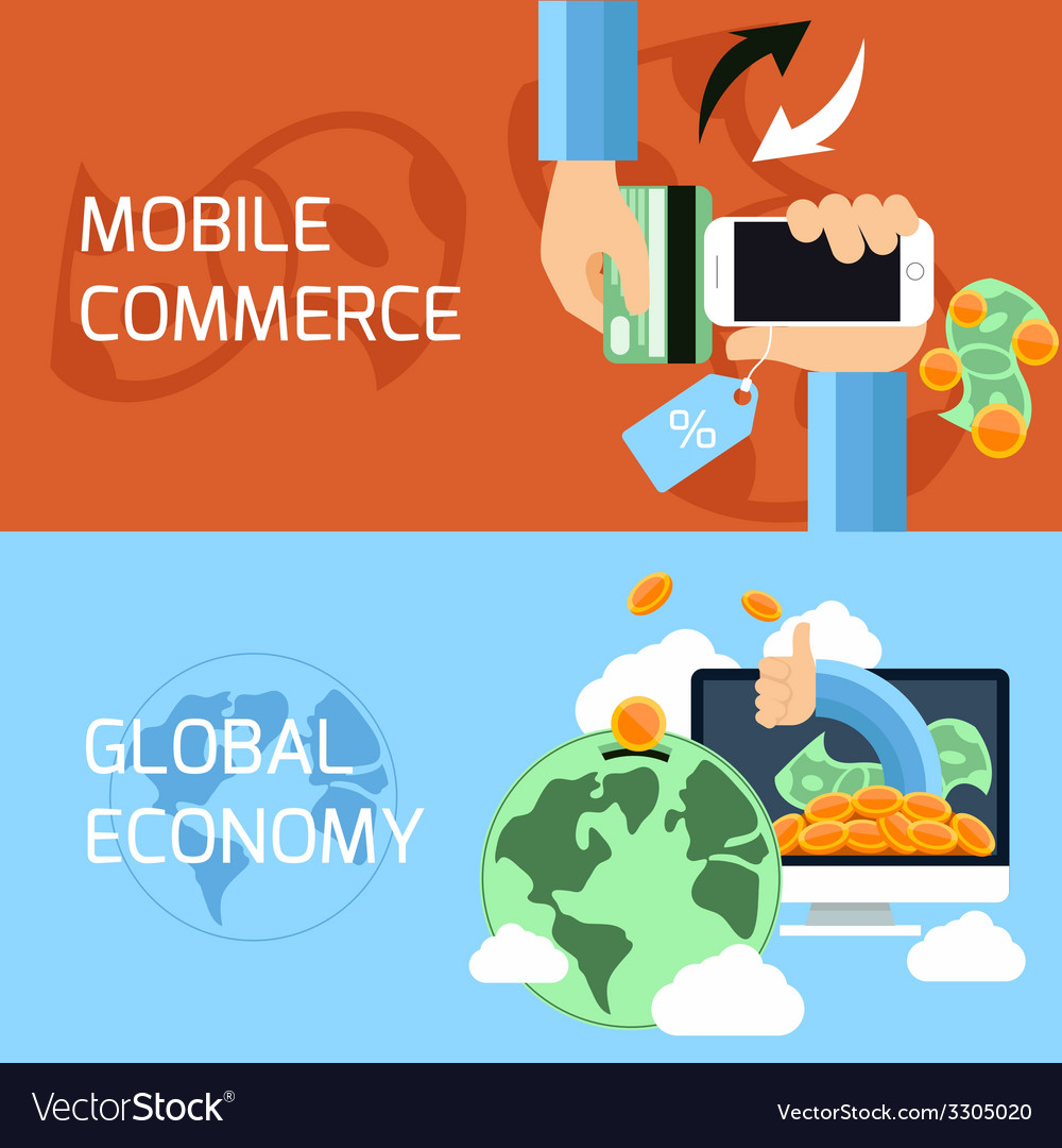 Concept for mobile commerce and global economy vector | Price: 1 Credit (USD $1)