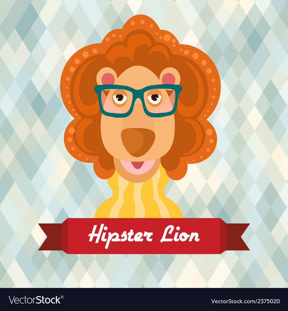 Hipster lion poster vector | Price: 1 Credit (USD $1)