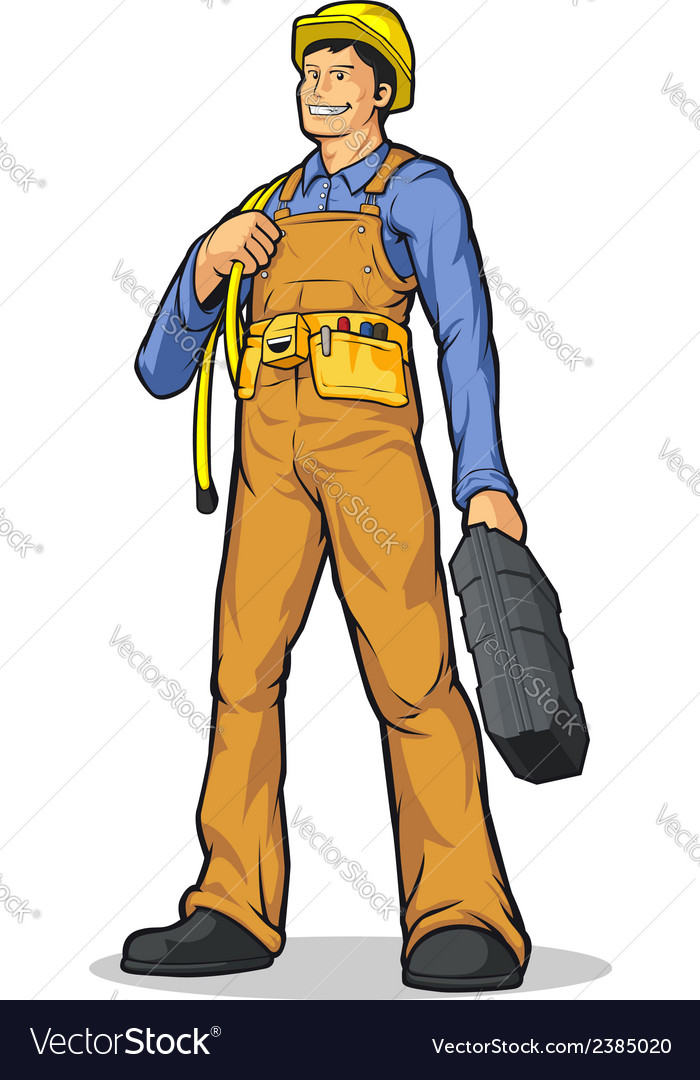 Industrial construction worker with rope tool box vector | Price: 1 Credit (USD $1)