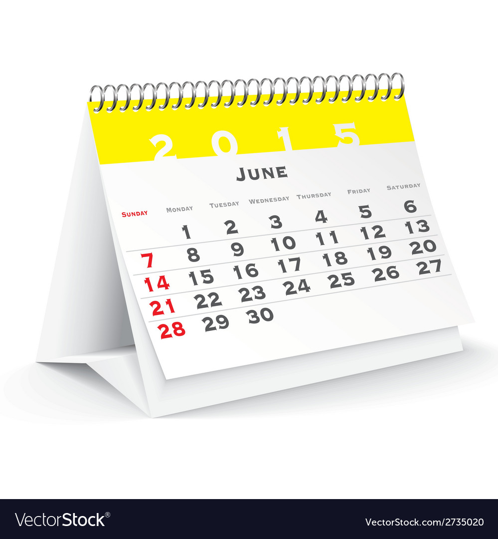 June 2015 desk calendar - vector | Price: 1 Credit (USD $1)