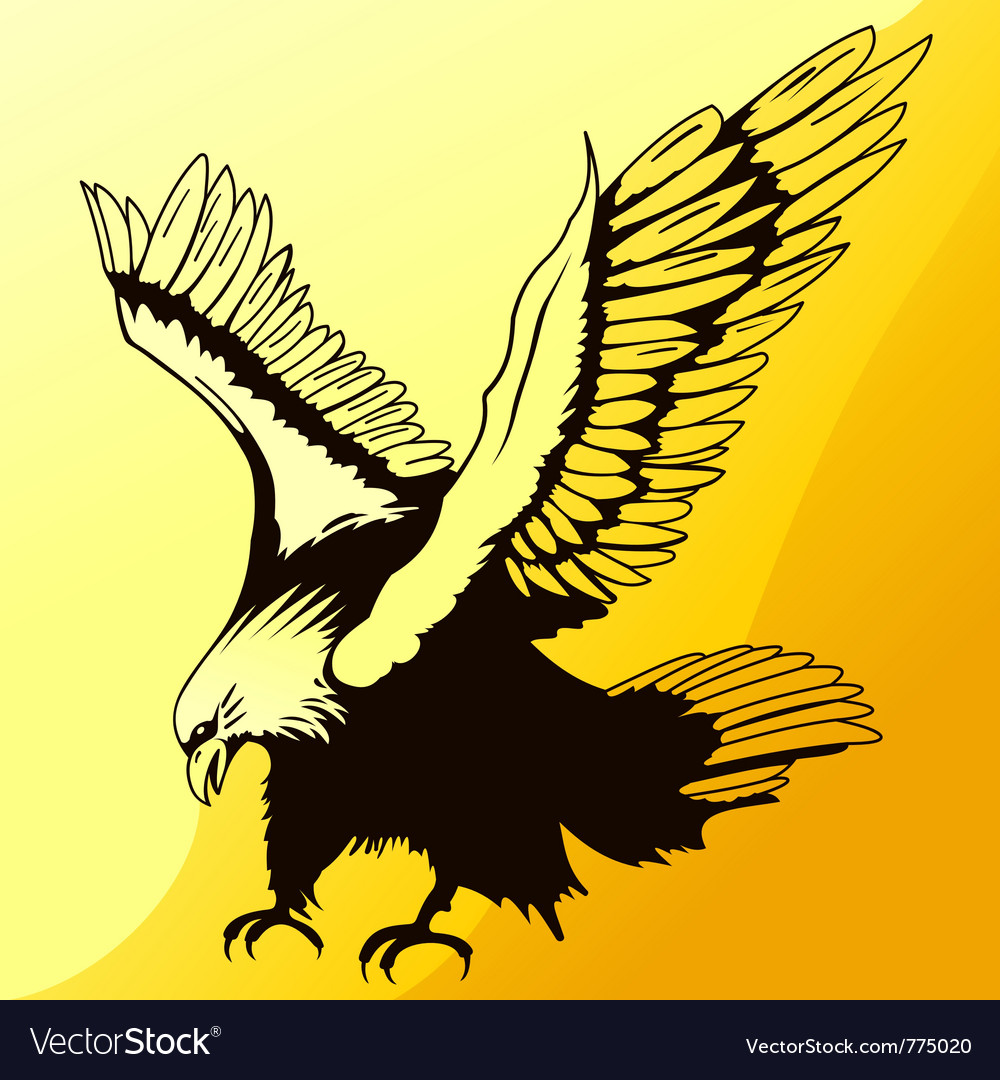 Landing eagle silhouette vector | Price: 1 Credit (USD $1)