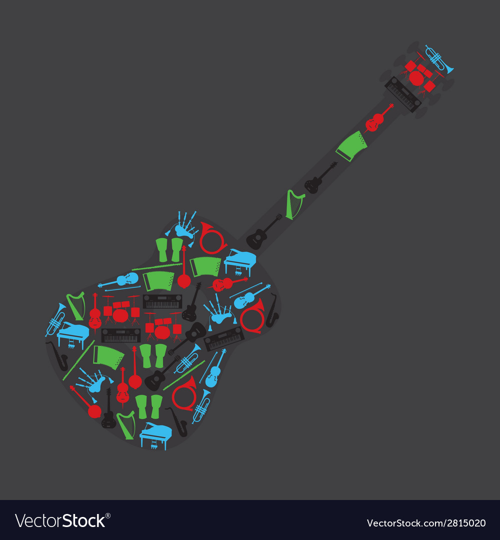 Musical instruments in guitar shape eps10 vector | Price: 1 Credit (USD $1)