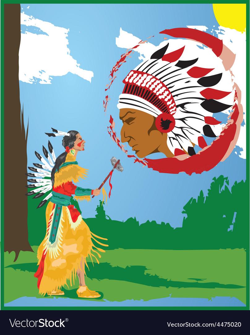 Native american cartoon vector | Price: 1 Credit (USD $1)