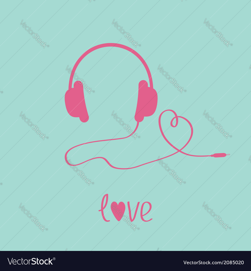 Pink headphones and cord in shape of heart vector | Price: 1 Credit (USD $1)