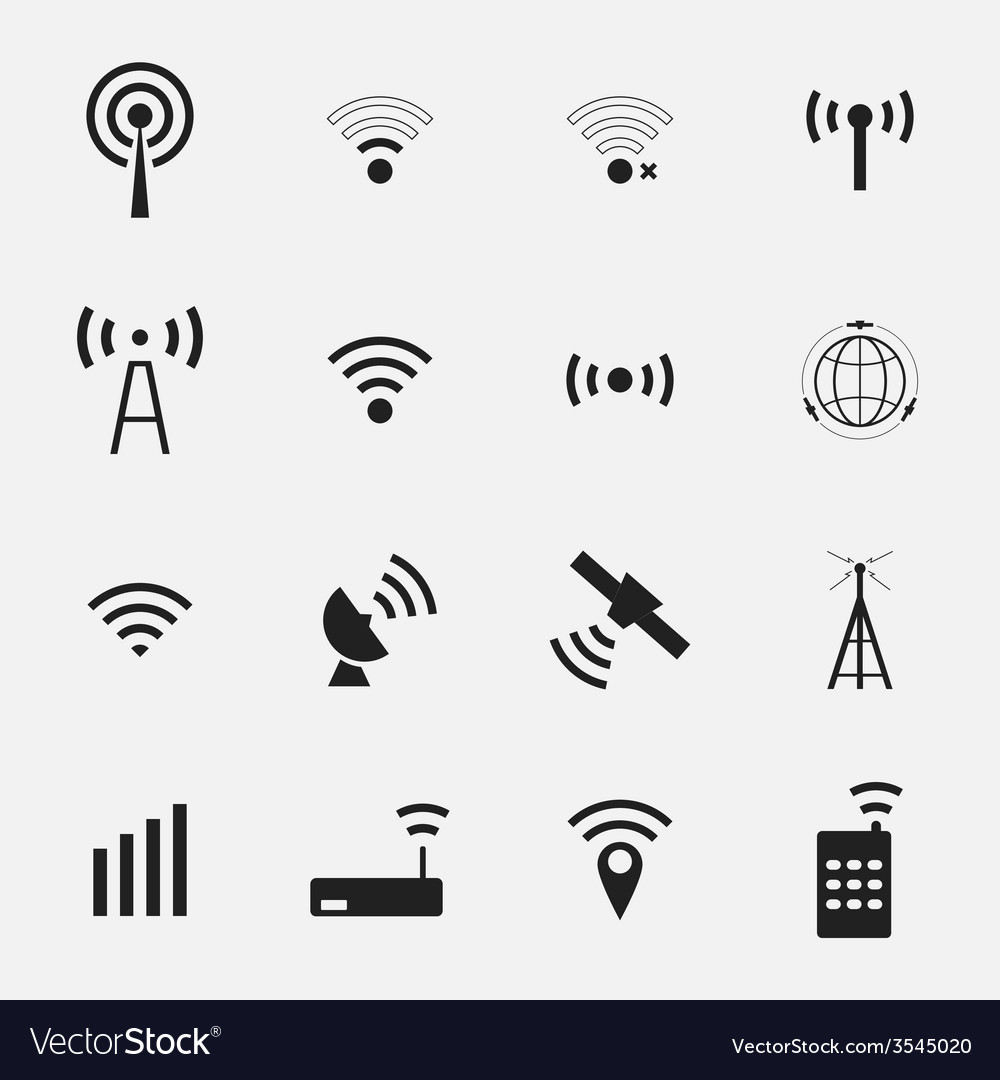 Set different black wireless and wifi icons vector | Price: 1 Credit (USD $1)