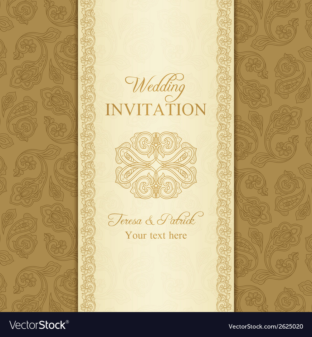 Turkish cucumber wedding invitation gold vector | Price: 1 Credit (USD $1)