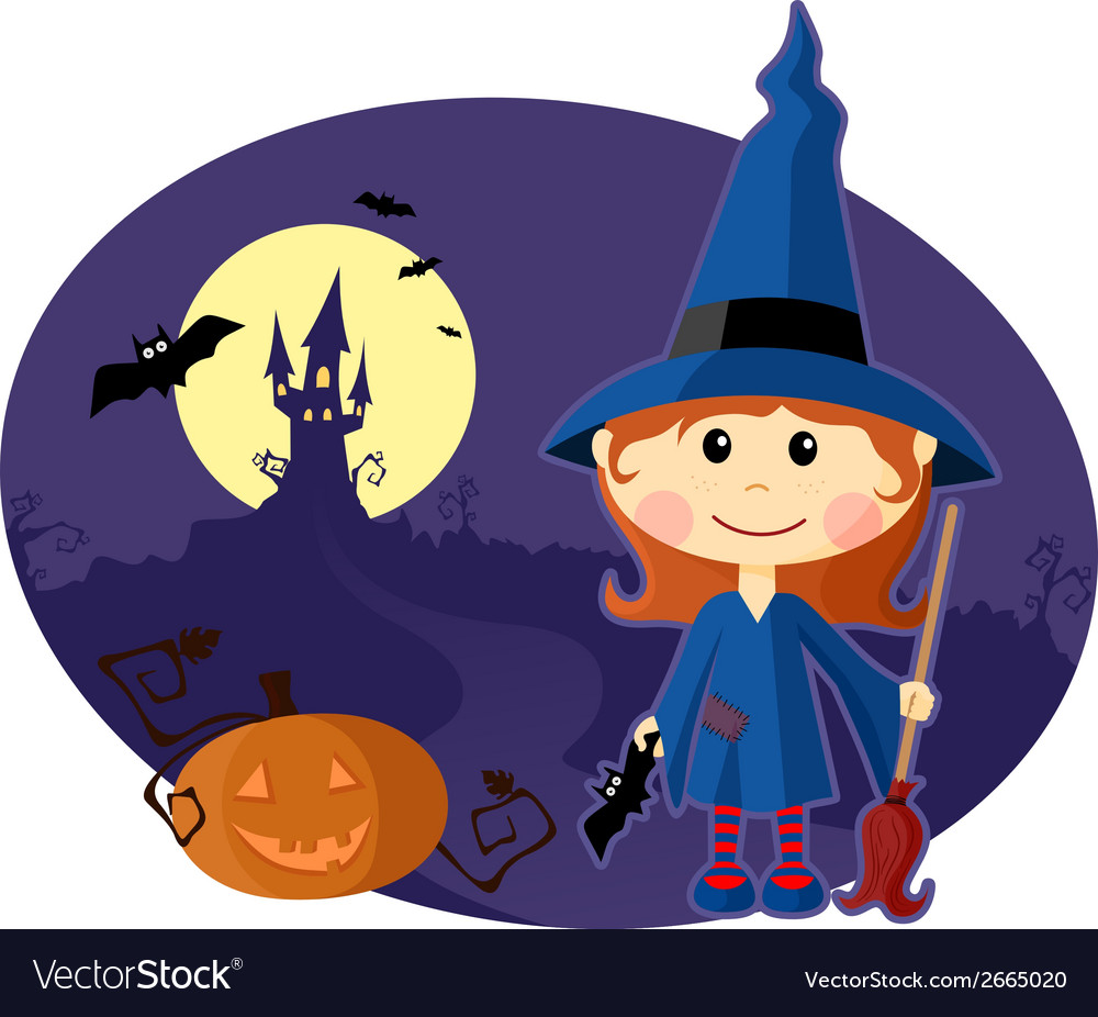 Young witch with pumpkin at halloween night vector | Price: 1 Credit (USD $1)