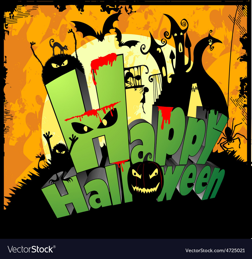 3d type of the text happy halloween vector | Price: 1 Credit (USD $1)