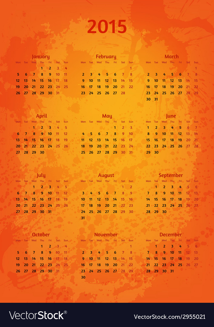 Artistic 2015 year calendar vector | Price: 1 Credit (USD $1)