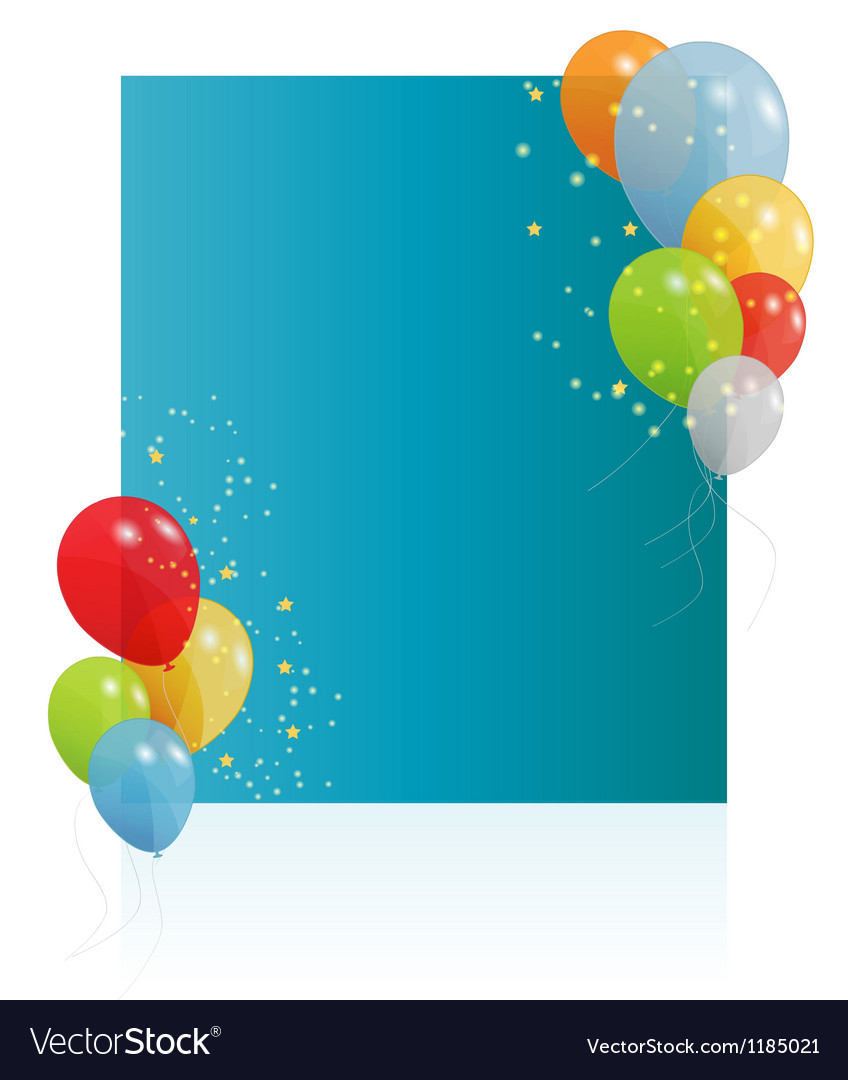 Birthday card with colored balloons vector | Price: 1 Credit (USD $1)