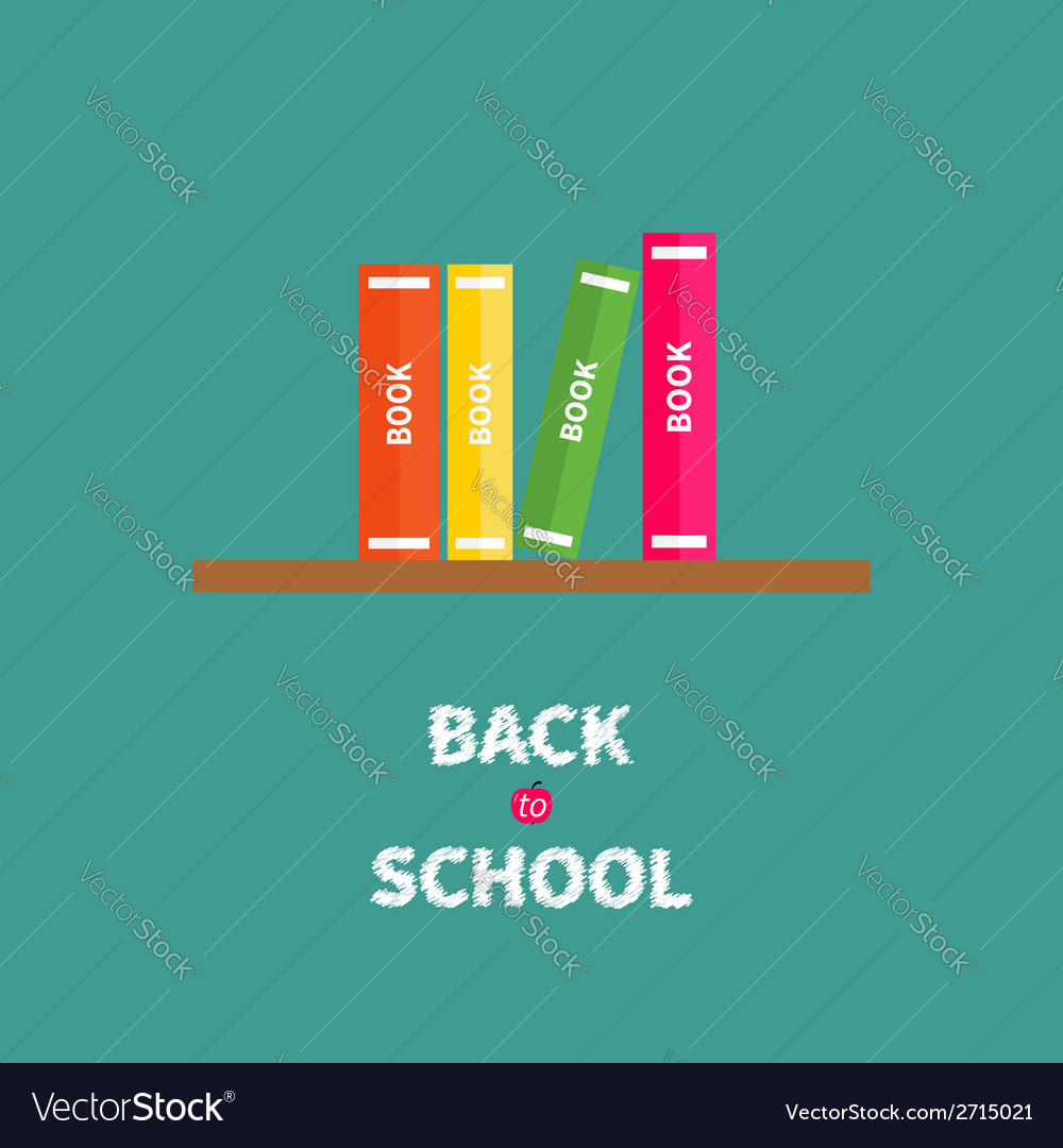 Book shelf with four books blue background back to vector   Price: 1 Credit (USD $1)
