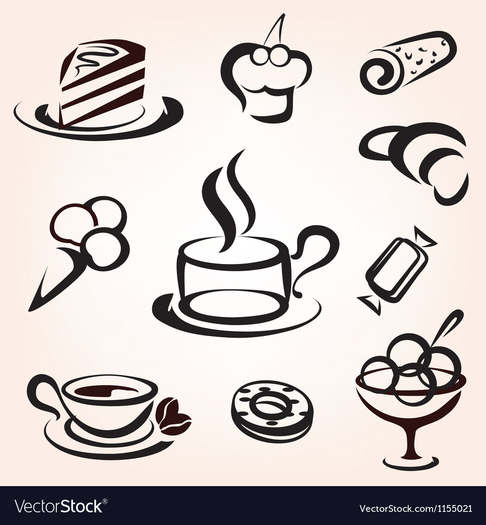 Caffe bakery and other sweet pastry icons set vector | Price: 1 Credit (USD $1)