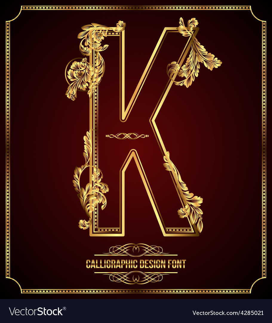 Calligraphic font letter k vector | Price: 3 Credit (USD $3)
