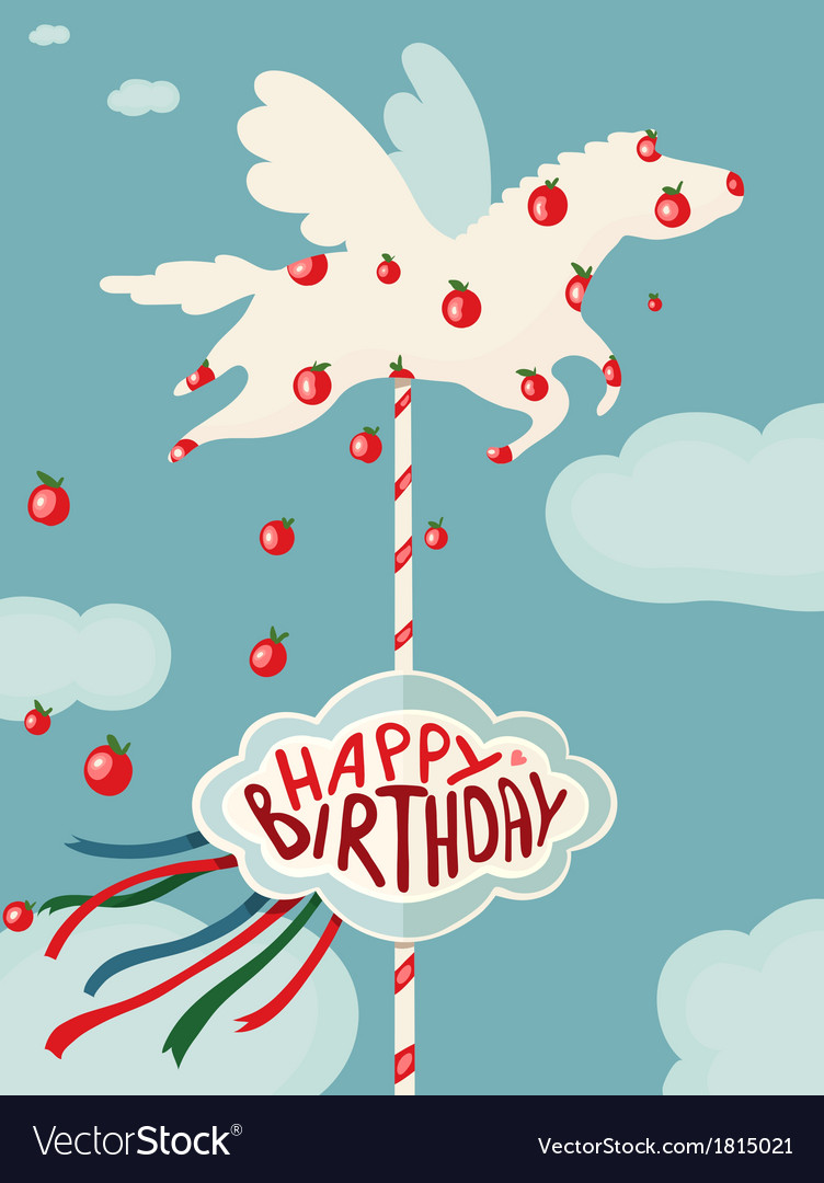 Carousel horse and apples happy birthday card vector | Price: 1 Credit (USD $1)