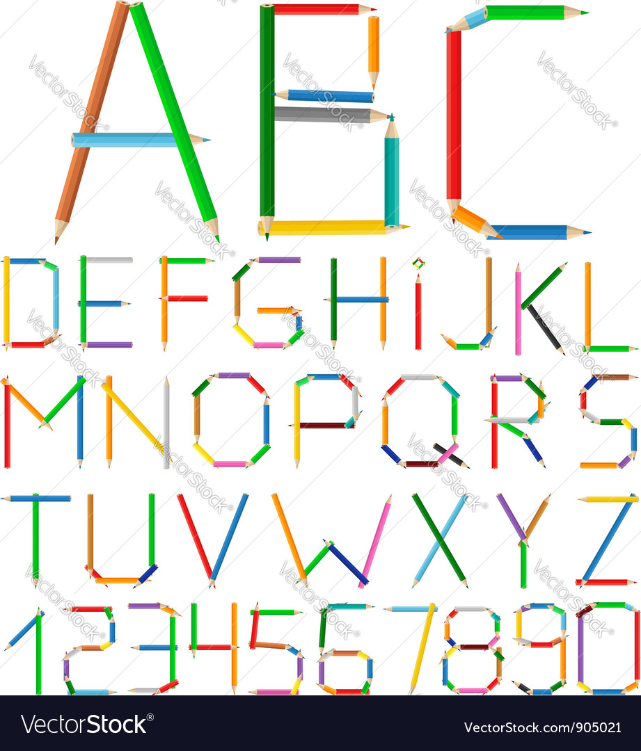 Colored pencils alphabet vector   Price: 1 Credit (USD $1)