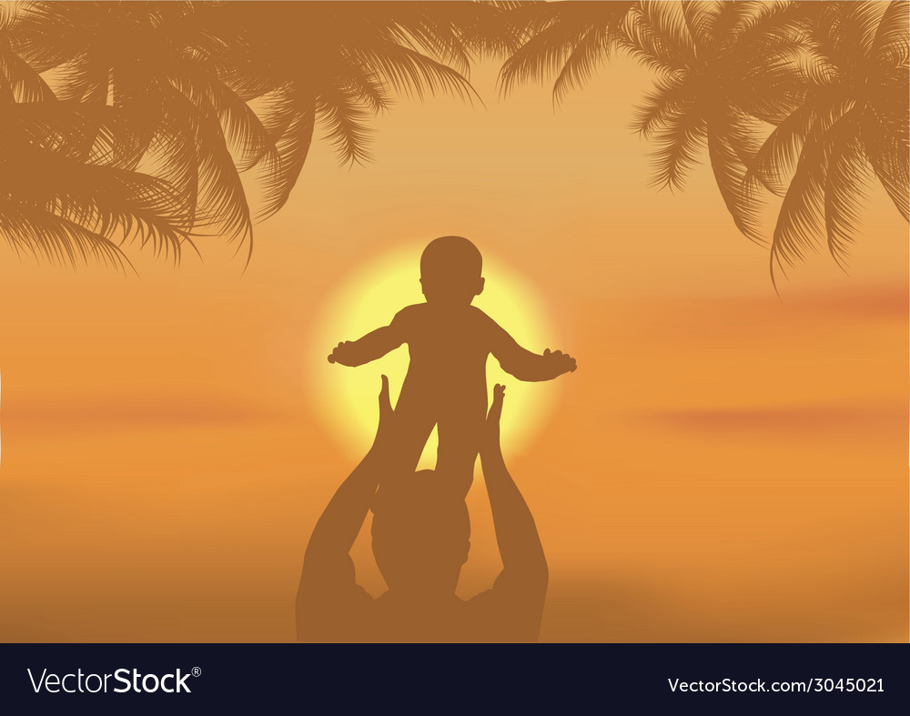 Father and the son playing on a beach vector | Price: 1 Credit (USD $1)