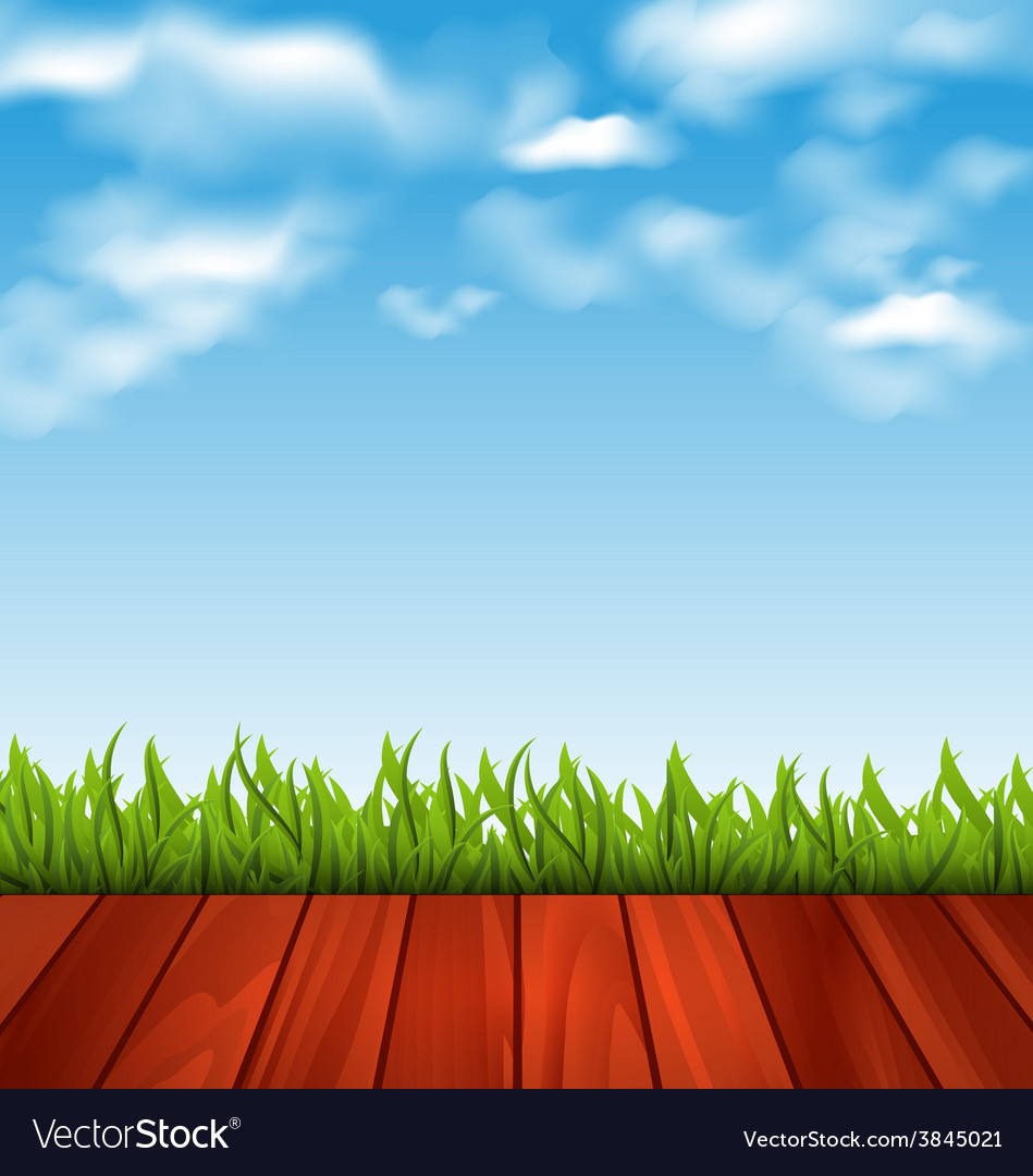 Freshness spring green grass and wood floor - vector | Price: 1 Credit (USD $1)