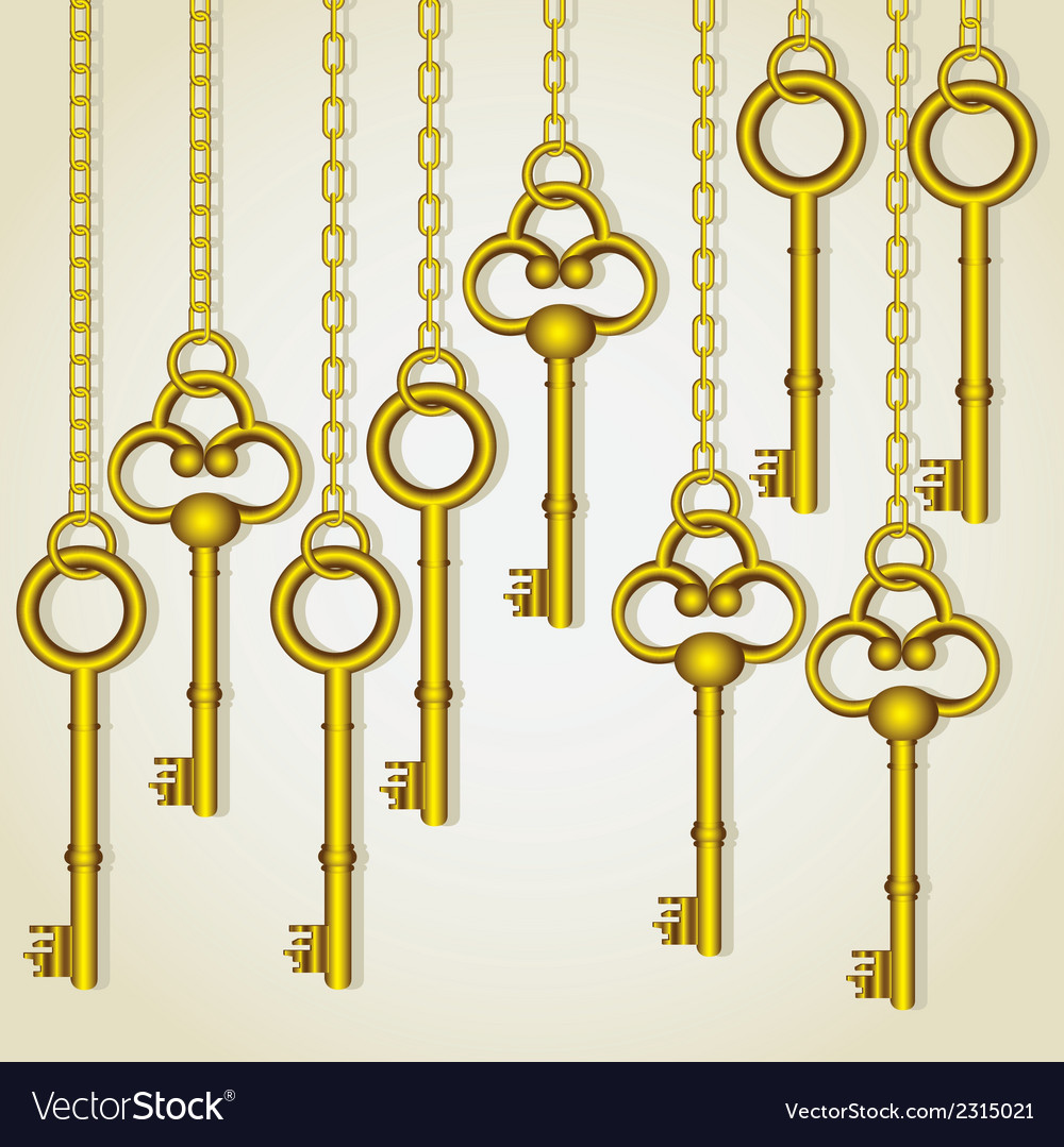 Old golden keys dangling chain links vector | Price: 1 Credit (USD $1)
