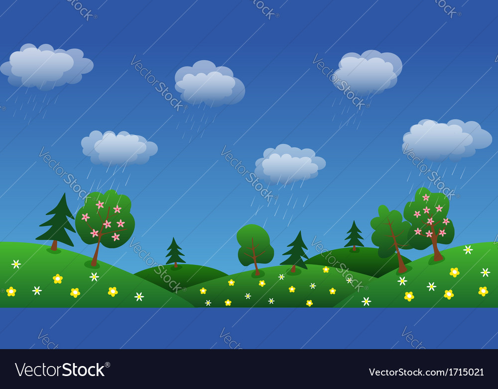 Rain sky background with green grass and flowers vector | Price: 1 Credit (USD $1)