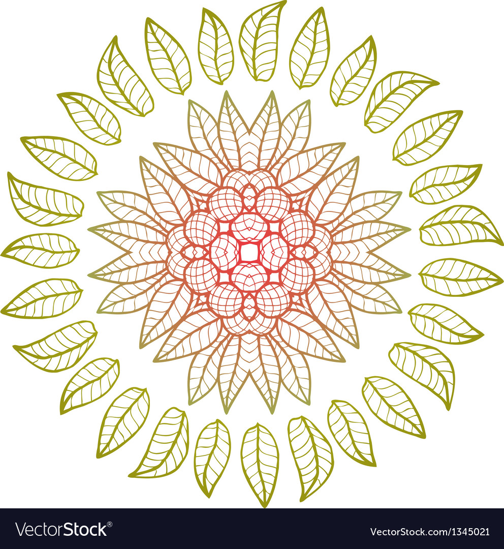 Round floral ornament vector | Price: 1 Credit (USD $1)