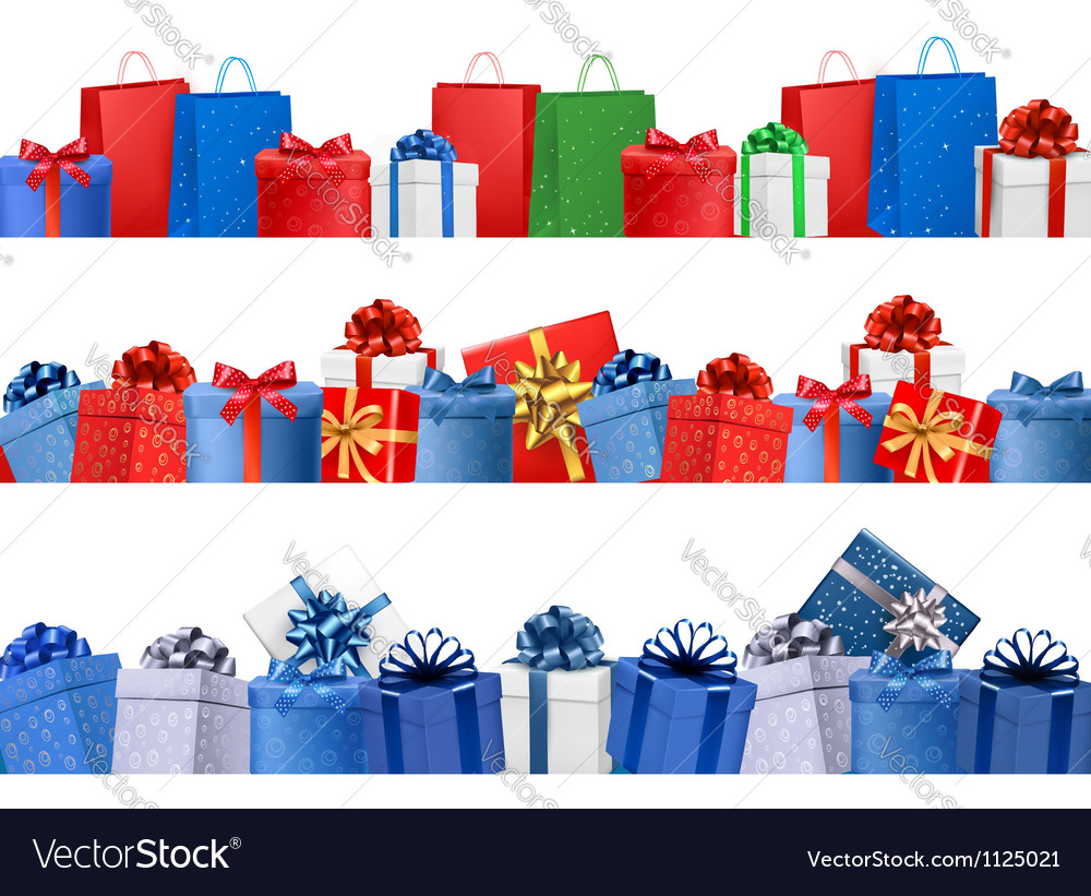 Set of shopping banners with gift colorful boxes vector | Price: 1 Credit (USD $1)