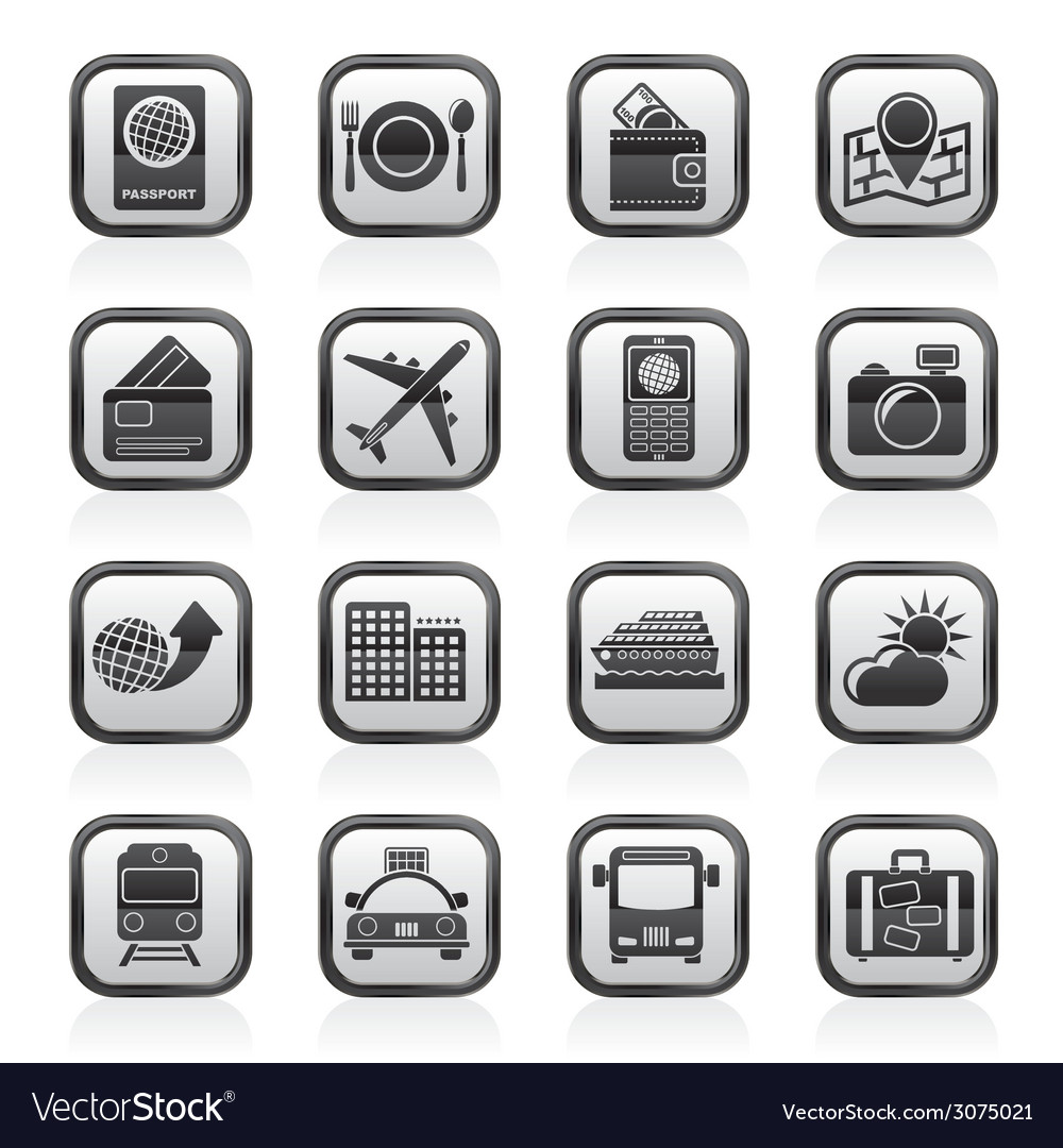 Transportation and vacation icons vector | Price: 1 Credit (USD $1)