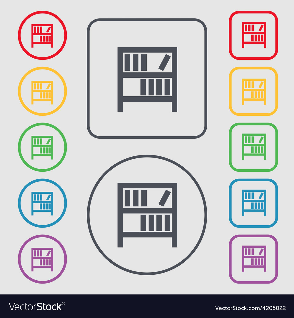Bookshelf icon sign symbol on the round and square vector | Price: 1 Credit (USD $1)
