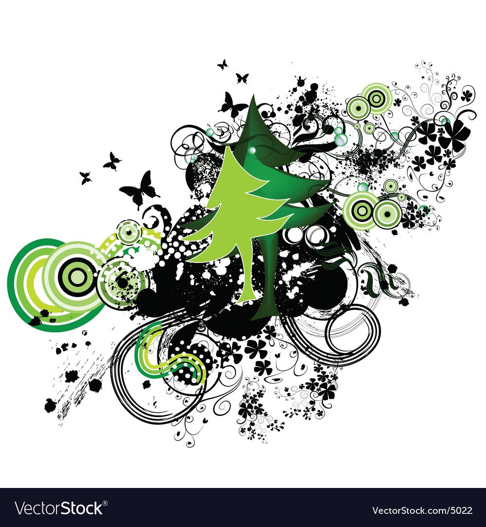 Christmas greeting card with tree vector | Price: 1 Credit (USD $1)