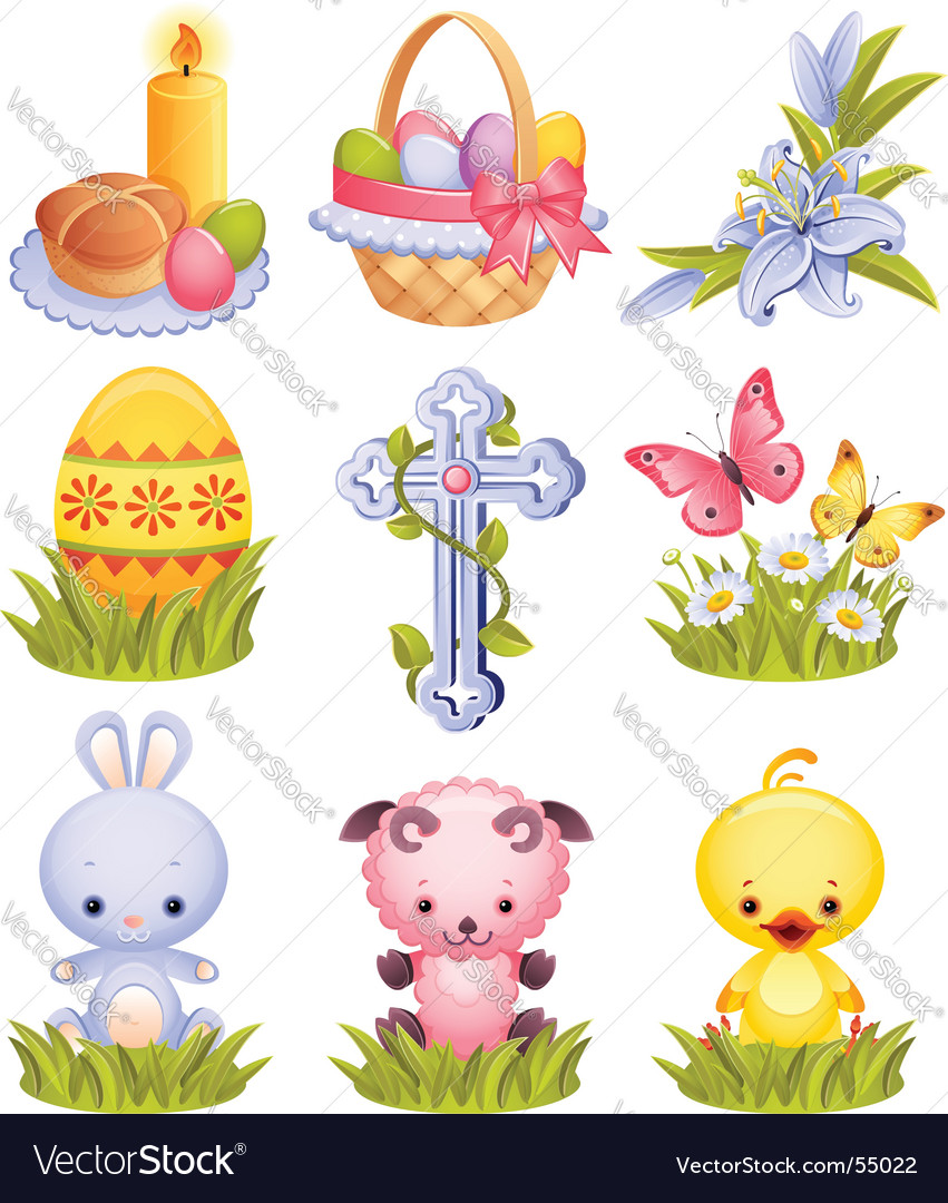 Easter icons vector | Price: 3 Credit (USD $3)