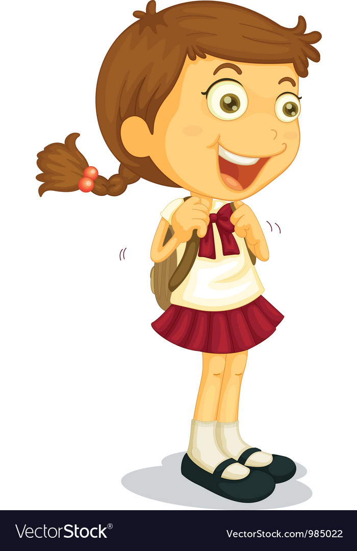 Girl going to school vector | Price: 3 Credit (USD $3)