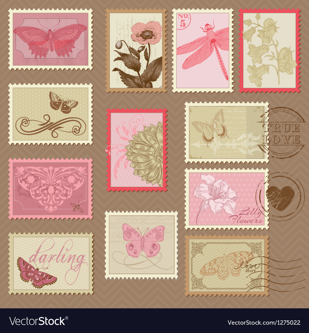 Retro postage stamps vector | Price: 3 Credit (USD $3)