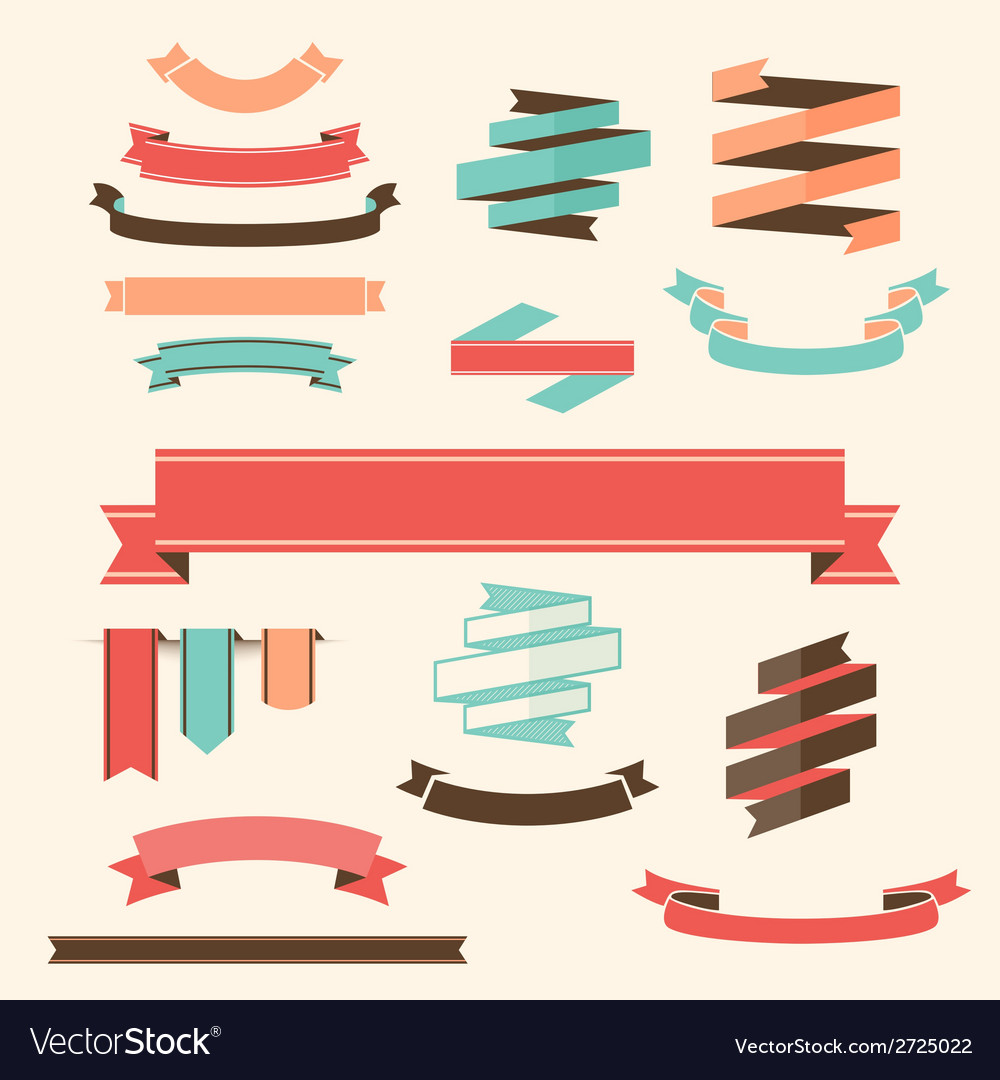 Ribbon banner set design elements vector | Price: 1 Credit (USD $1)