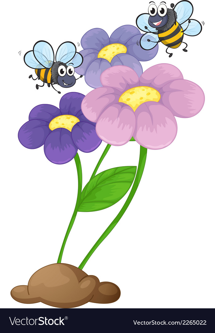 Two bees near the blooming flowers vector | Price: 1 Credit (USD $1)