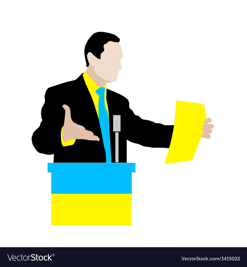 Ukrainian speaker delivers a speech at the podium vector | Price: 1 Credit (USD $1)