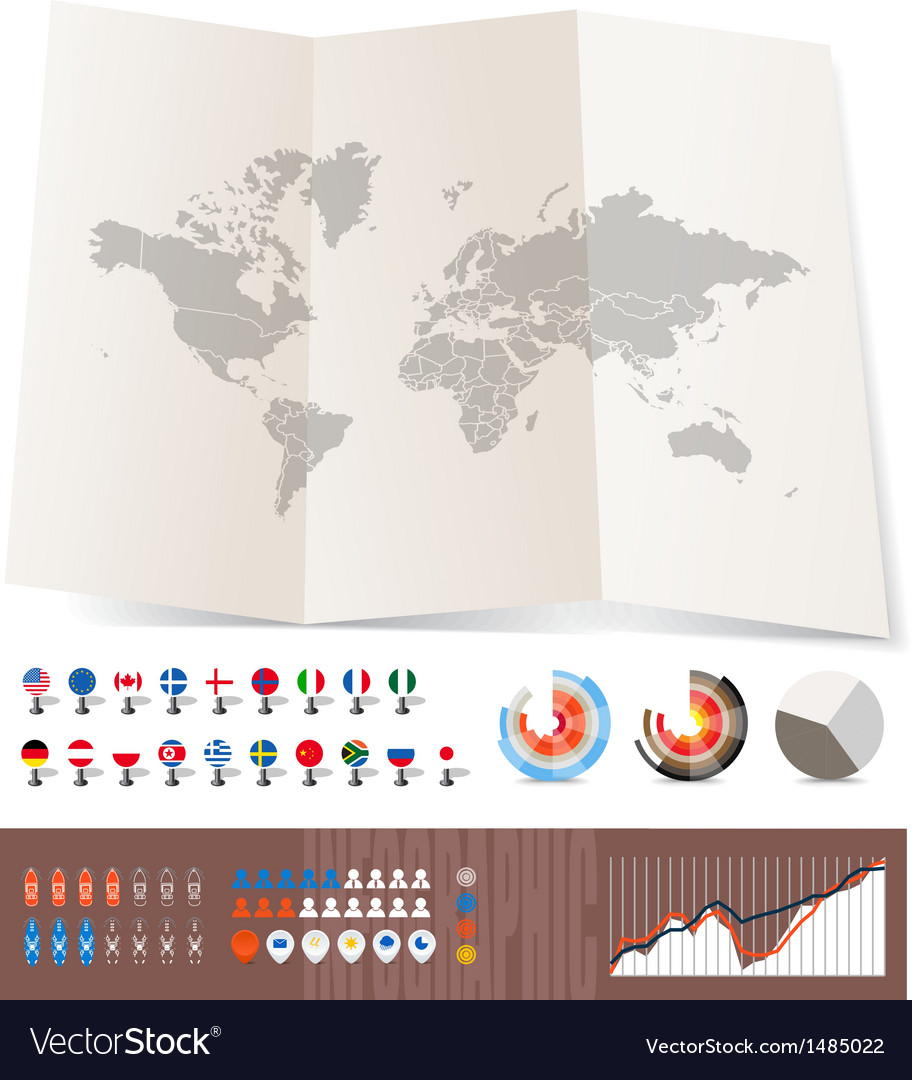 World map on old map and flags vector | Price: 1 Credit (USD $1)